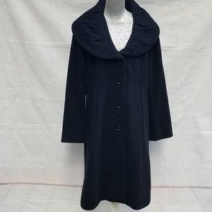 Calvin Klein Black Wool Trench Coat ~  Plus Size